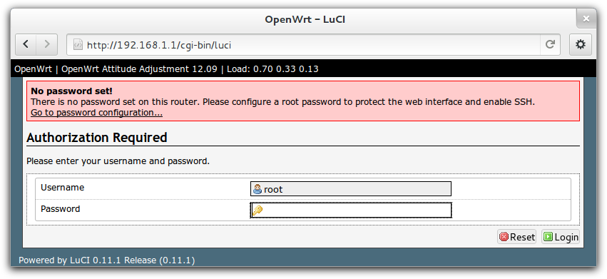 Interface d'administration d'OpenWRT