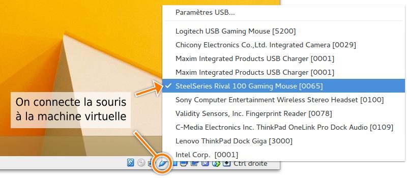 Connexion de la souris à la VM Windows