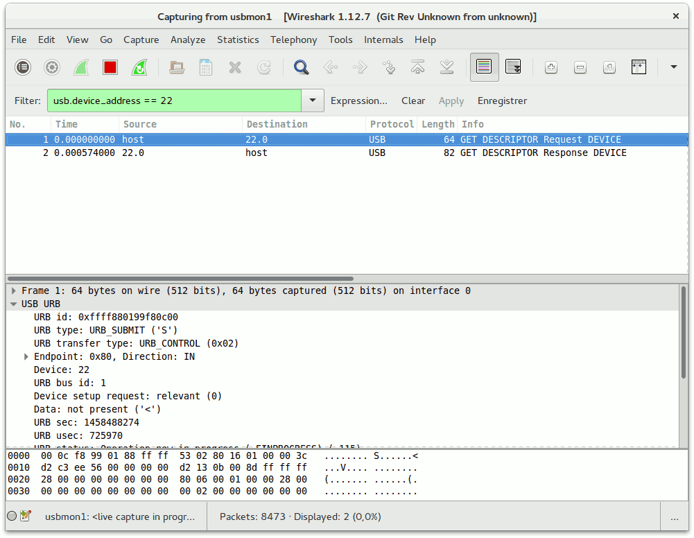 Wireshark : filtré par usb.device\_address