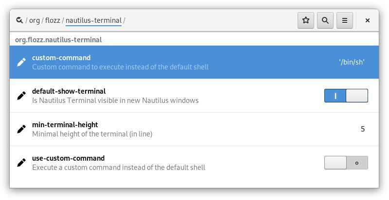 Configuration de Nautilus Terminal v3 via dconf editor