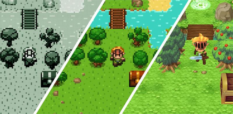 Capture d'écrans des différentes évolutions graphiques d'Evoland