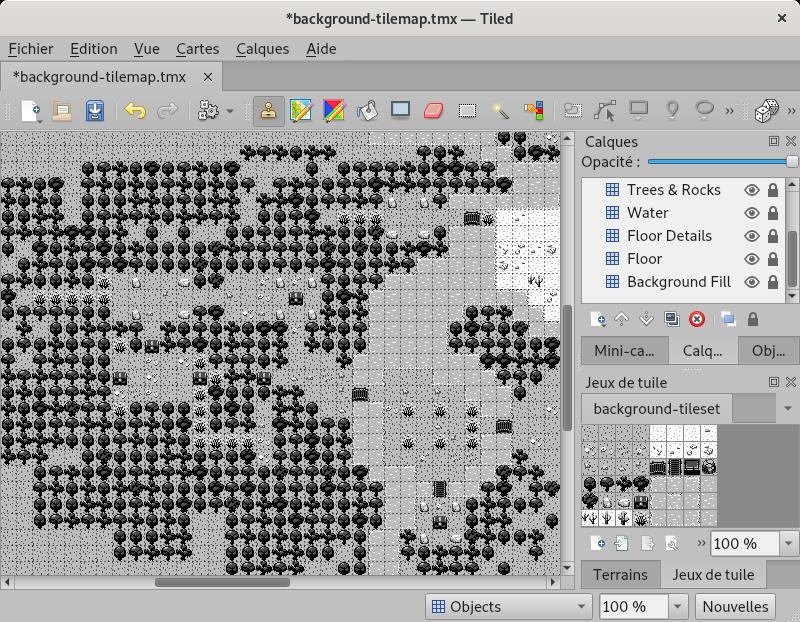 Capture d'écran de l'éditeur de carte Tiled