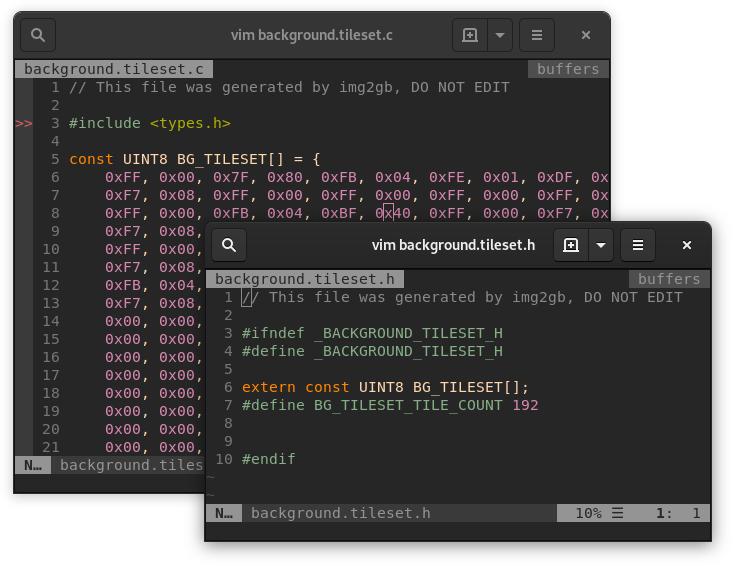 Capture d'écran du résultat de la conversion des assets avec img2gb