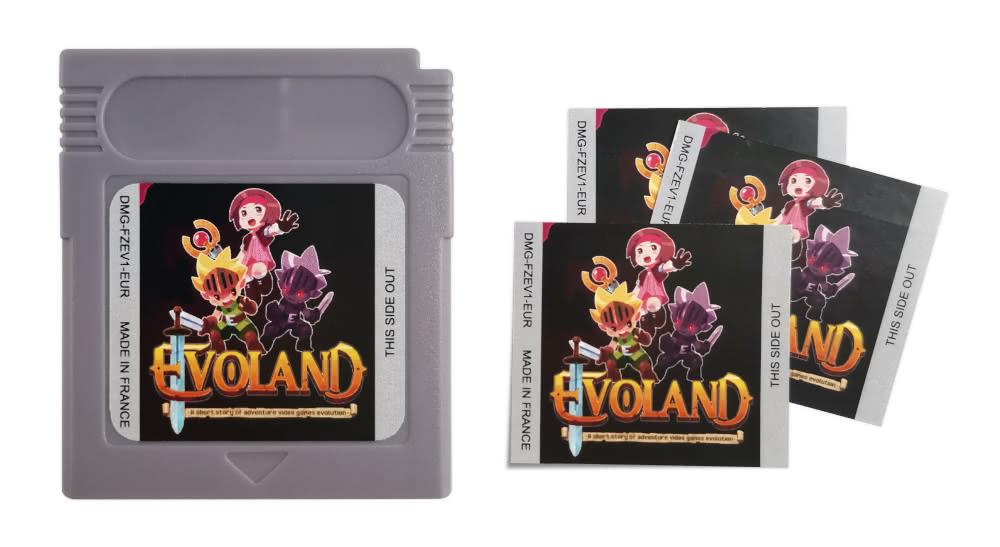 Cartouche et stickers d'Evoland.gb