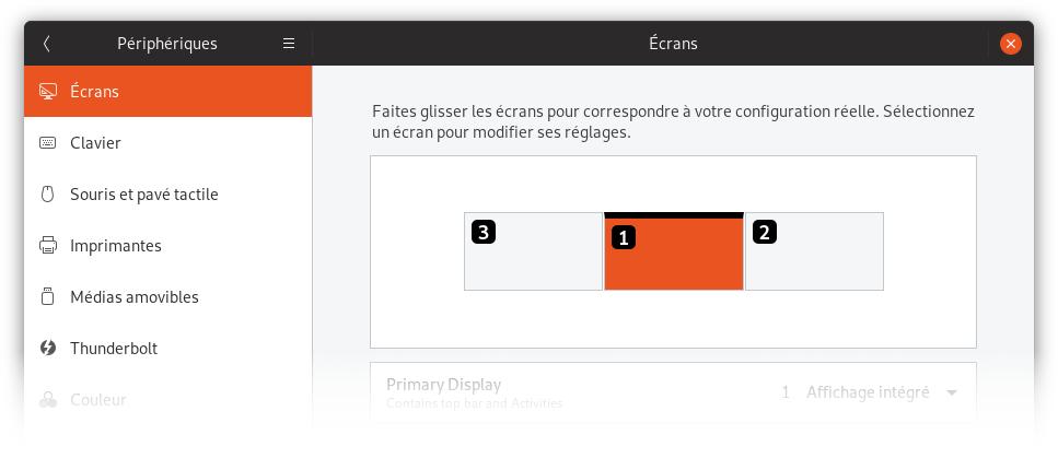 Capture d'écran des préférencs d'affichage de GNOME avec 3 écrans