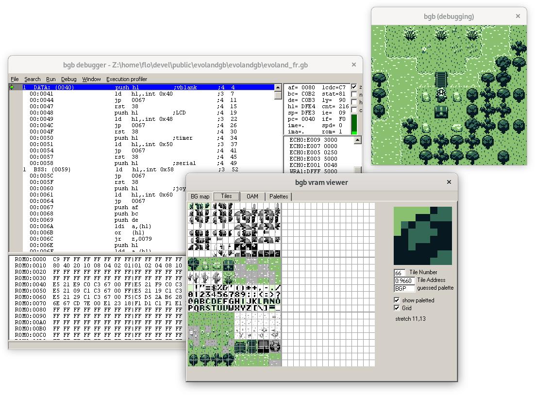 Capture d'écran du débogage d'une ROM dans l'émulateur BGB