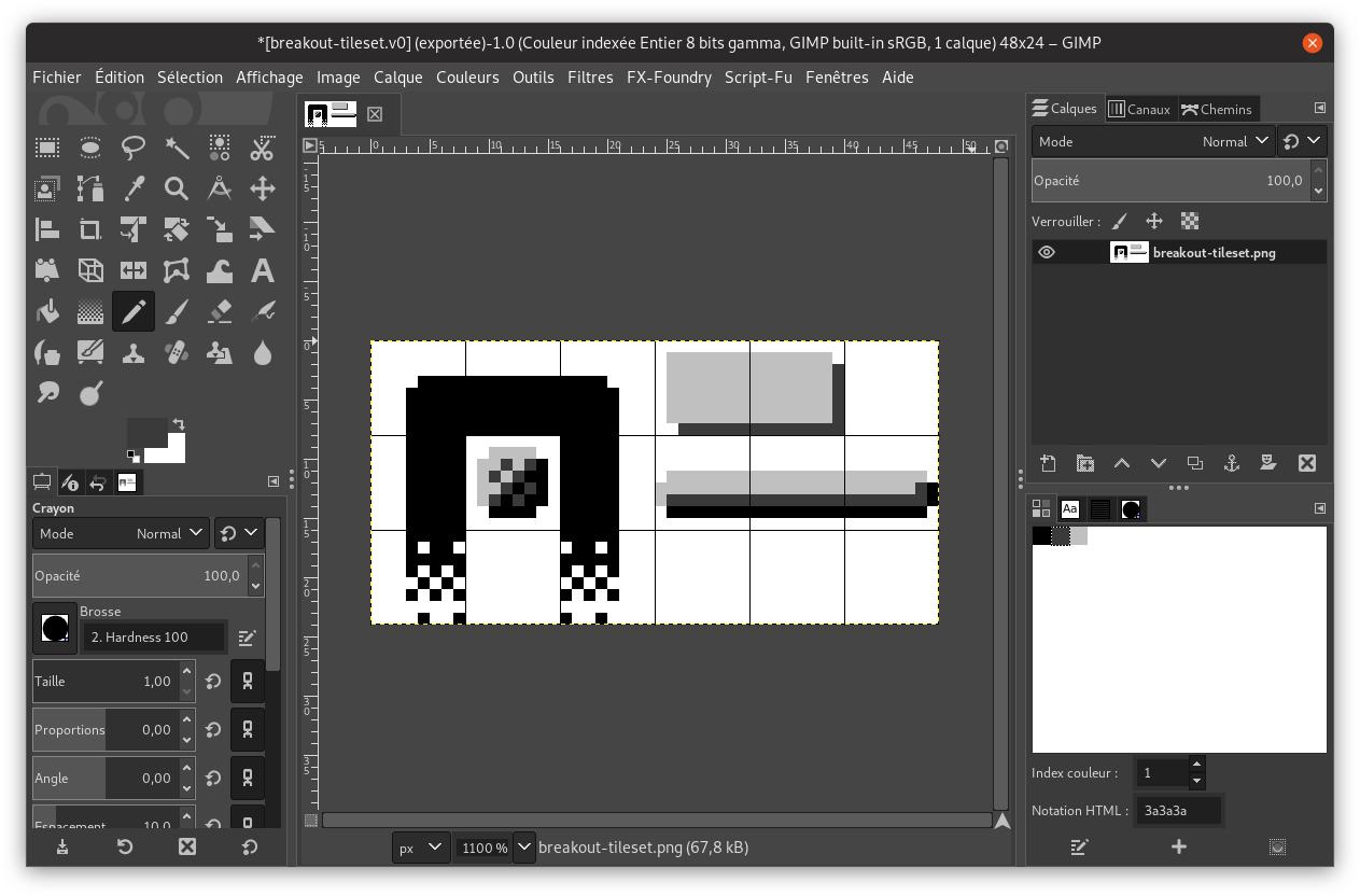 Capture d'écran du dessin des éléments graphiques dans GIMP