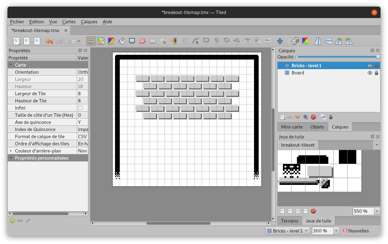 Capture d'écran du niveau 1 en cours d'édition dans Tiled
