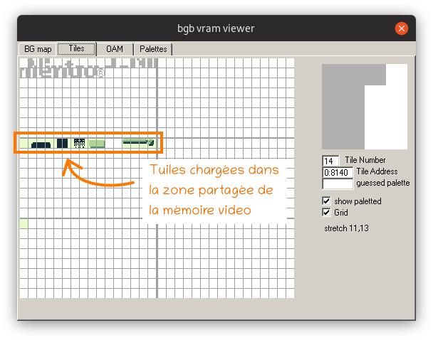 Capture d'écran du visualisateur de mémoire vidéo de l'émulateur BGB