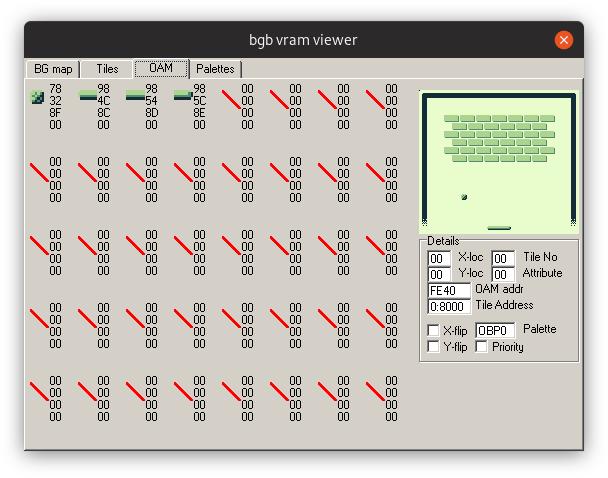 Capture d'écran de l'onglet OAM du VRAM Viewer de l'émulateur BGB