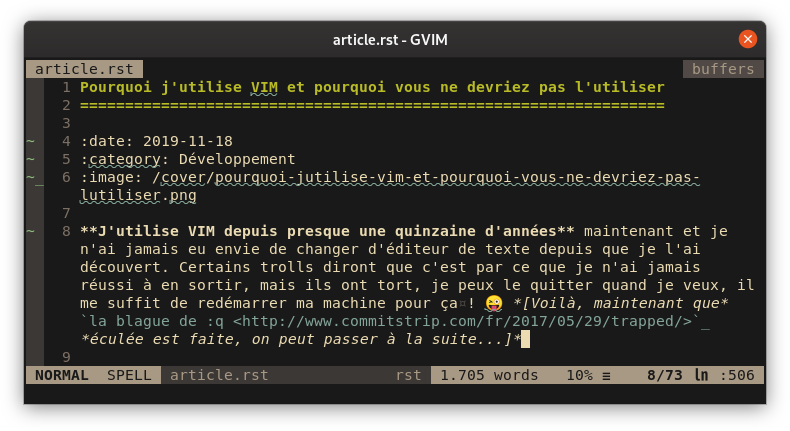 Capture d'écran de VIM