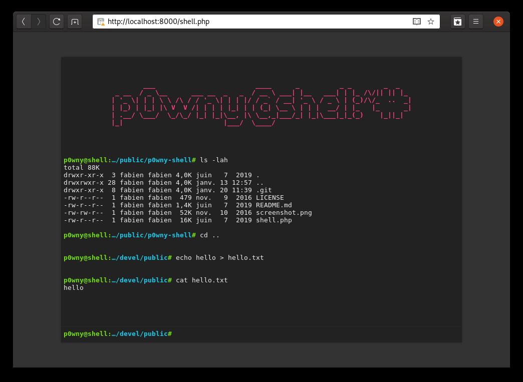 Capture d'écran de p0wny@shell dans un navigateur web