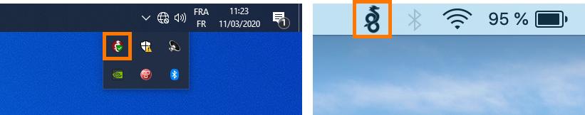 Icône de WireGuard dans la zone de notification sous Windows et MacOS