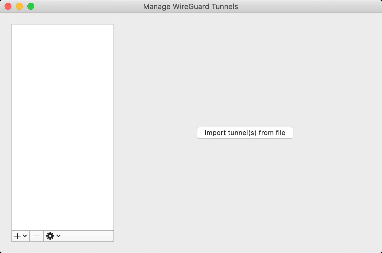 Interface graphique de WireGuard sous MacOS