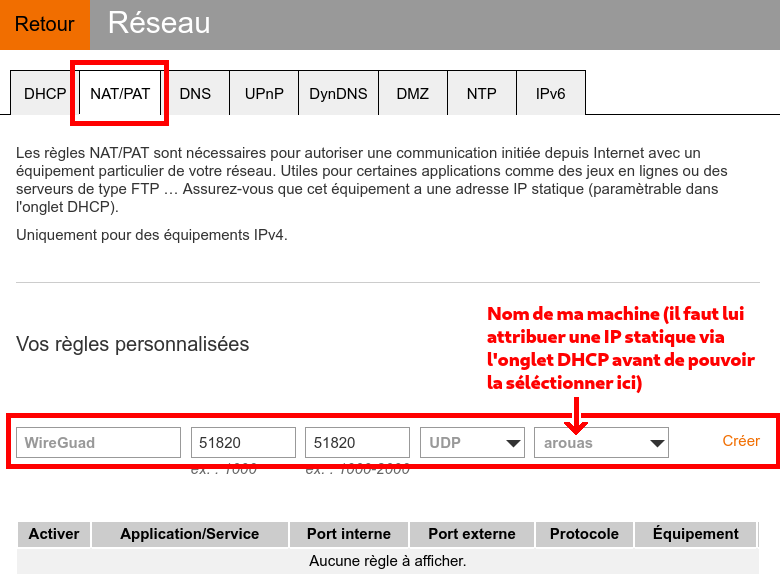 Capture d'écran de la configuration du port forwarding sur une LiveBox d'Orange