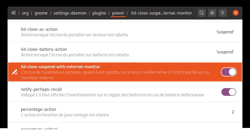 Option de GNOME Settings Daemon pour mettre en en veille la machine même lorsque des écrans sont connectés