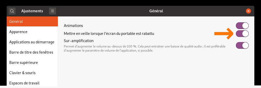 Option pour mettre en veille le PC lorsque l'écran est rabattu dans GNOME Tweak Tools