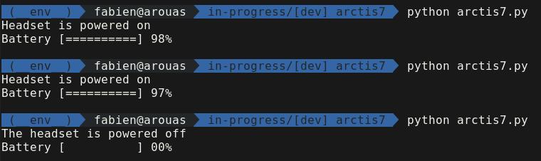Capture d'écran du script arctis7.py en fonctionnement.