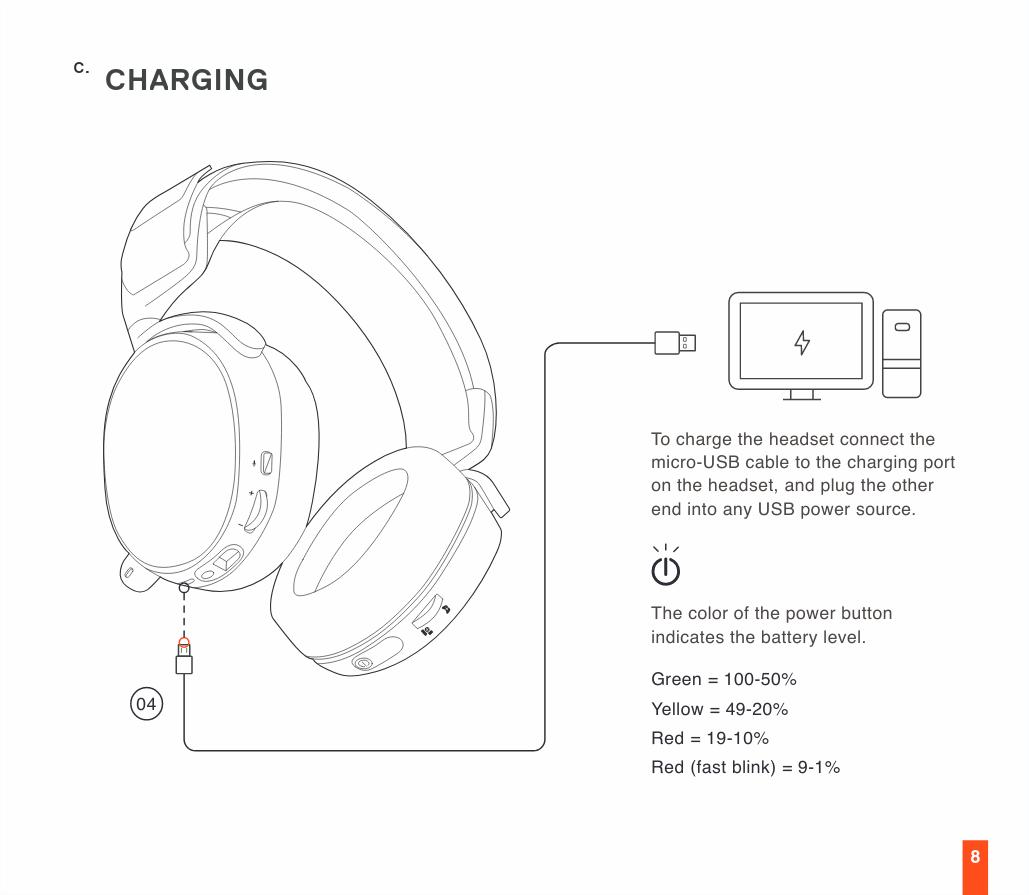 Page du manuel d'utilisation du SteelSeries Arctis 7 concernant la recharge de la batterie