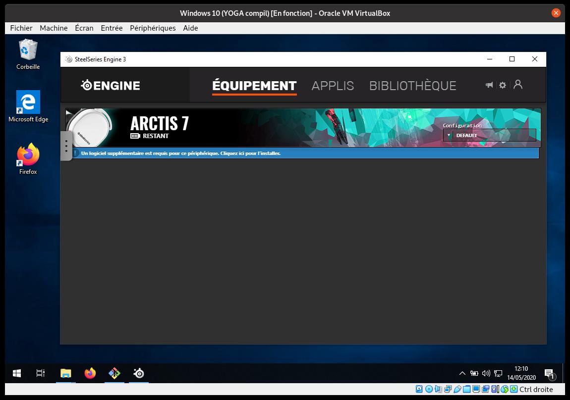 SteelSeries Engine 3 tournant sur une machine virtuelle Windows 10