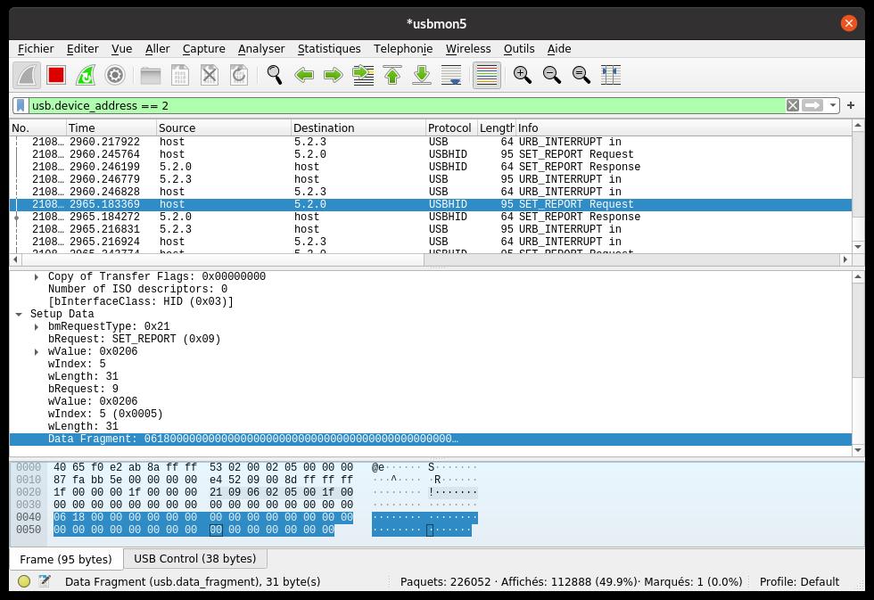 Exemple d'une capture sur le bus USB avec Wireshark