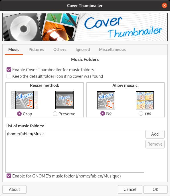 Capture d'écran de l'interface de configuration de Cover Thumbnailer