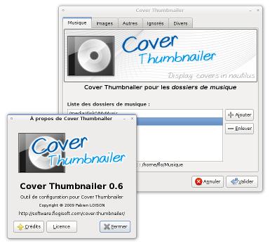 Capture d'écran de l'outil de configuration de Cover Thumbnailer v0.6.0