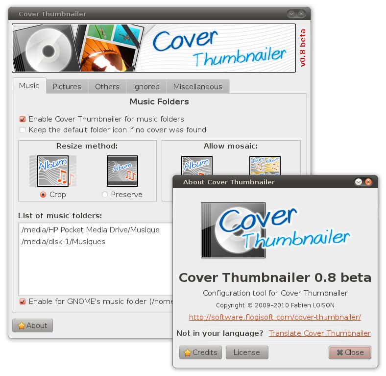 Capture d'écran de l'outil de configuration de Cover Thumbnailer v0.8.0beta