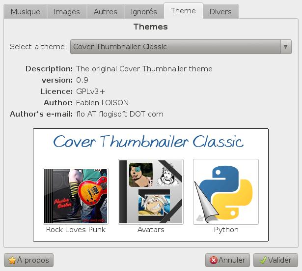 Capture d'écran du gestionnaire de thème prévu pour Cover Thumbnailer v0.9