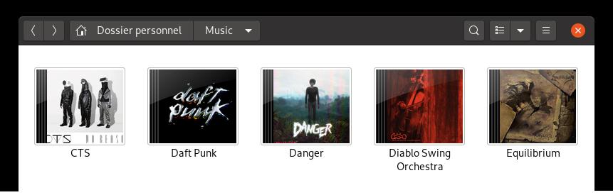 Capture d'écran d'écran du dossier Music dans Nautilus