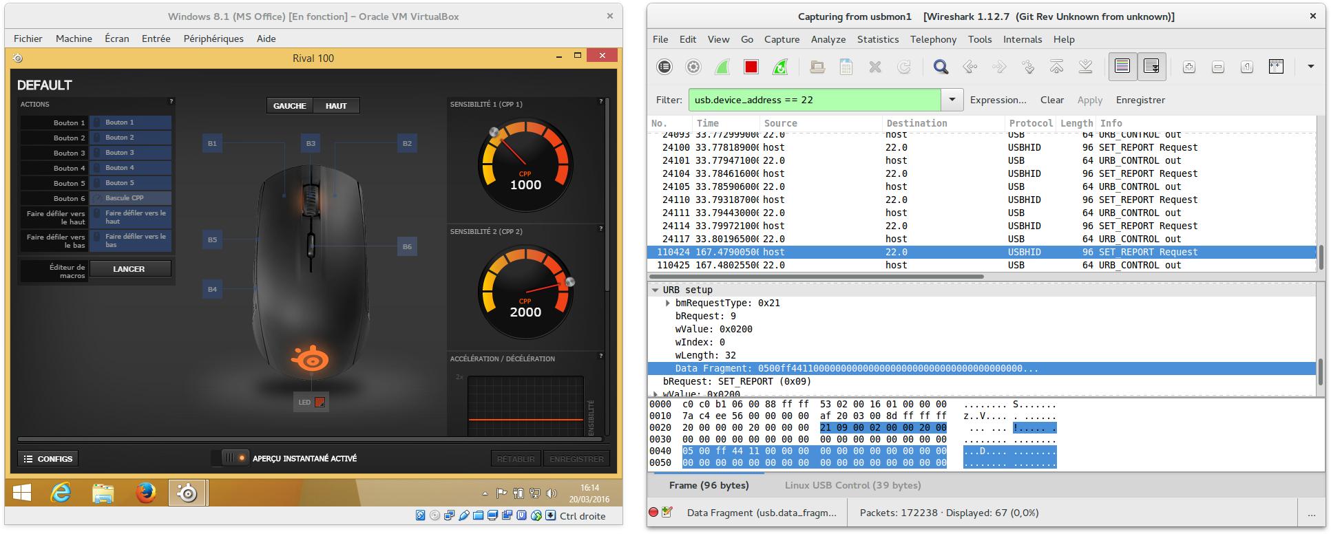 Capture d'écran du SteelSeries Engine 3 tournant dans une machine virtuelle Windows et de Wireshark capturant des paquets.