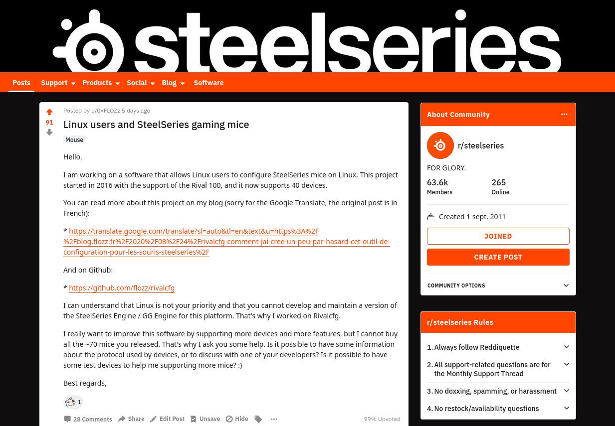 Message posté sur le subreddit de SteelSeries