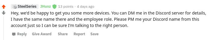 Réponse de SteelSeries sur Reddit