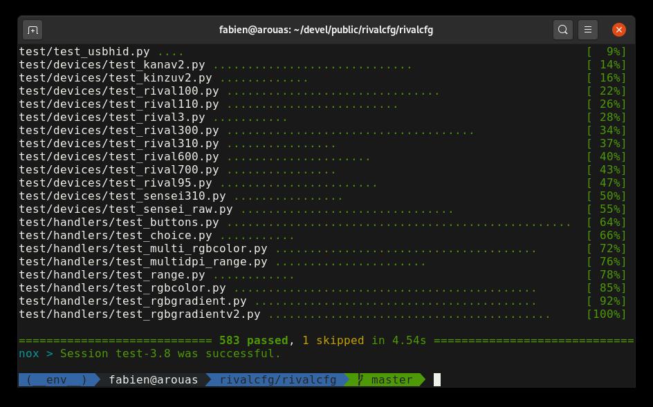 Capture d'écran des tests unitaires