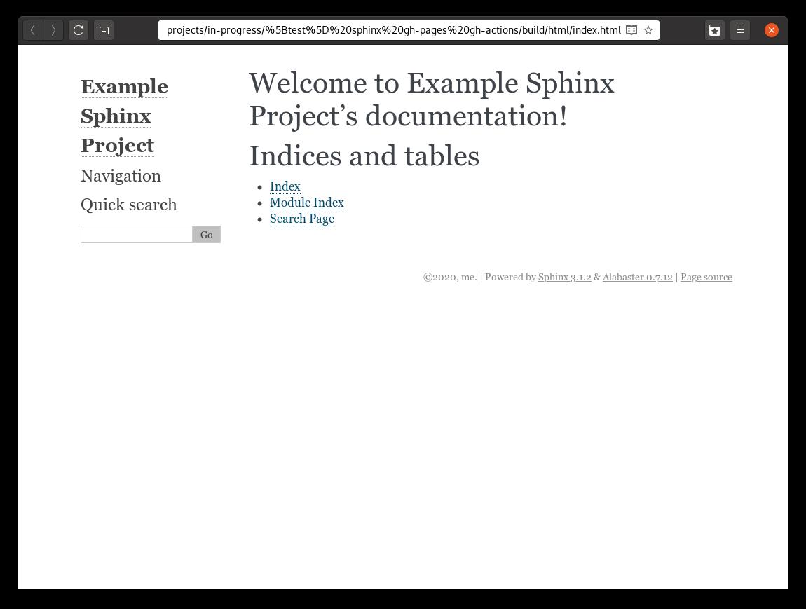 Capture d'écran de la documentation avec le thème Alabaster