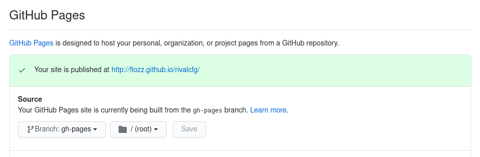 Configuration des Github Pages