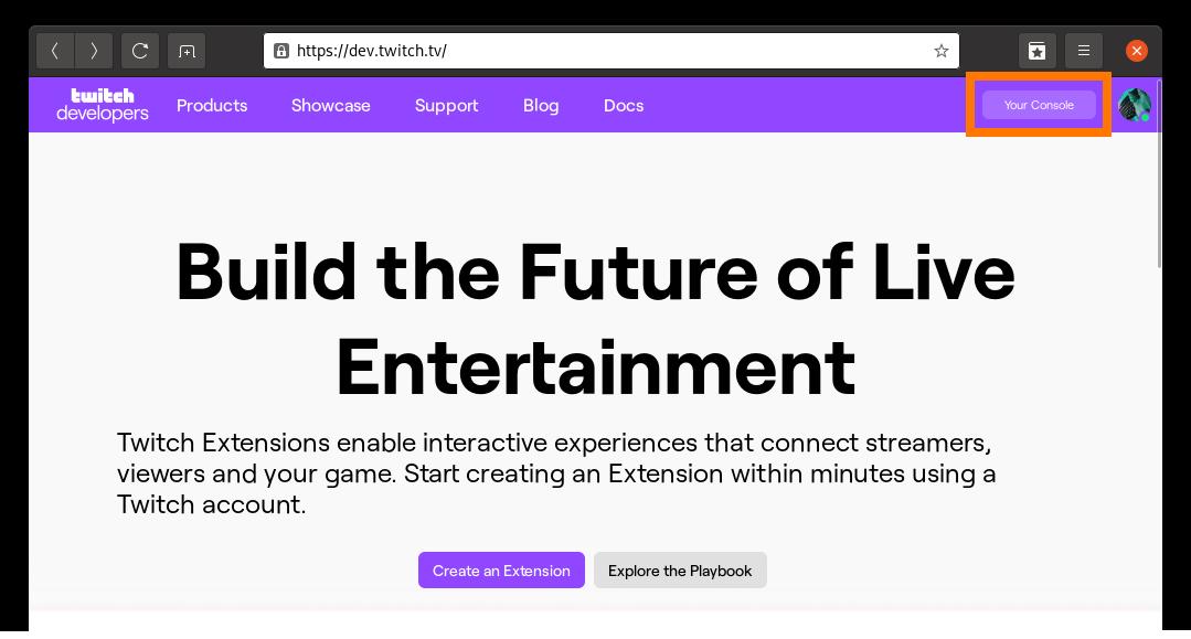Capture d'écran: Création d'une application Twitch, étape 1