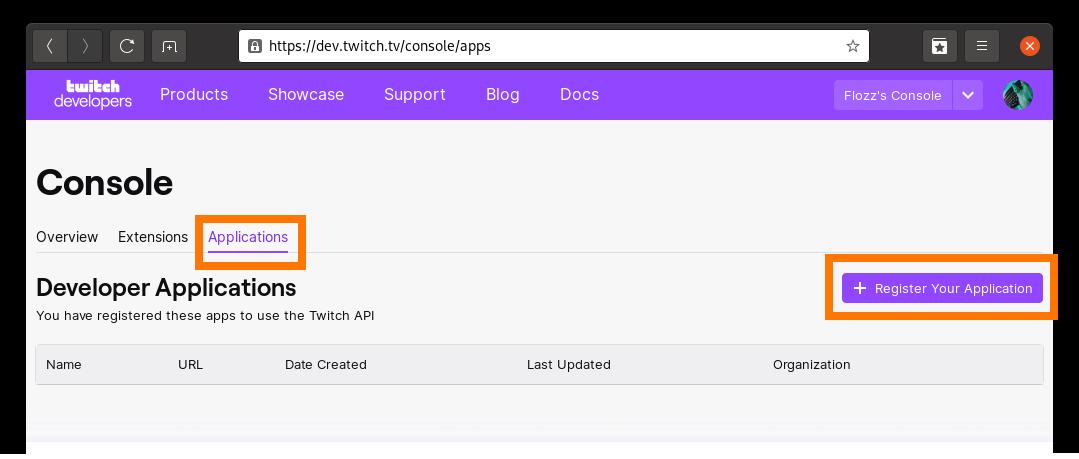 Capture d'écran: Création d'une application Twitch, étape 2