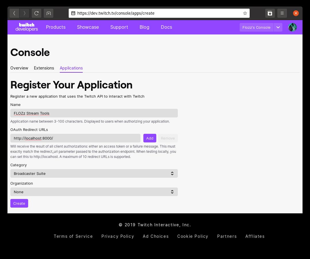 Capture d'écran: Création d'une application Twitch, étape 3