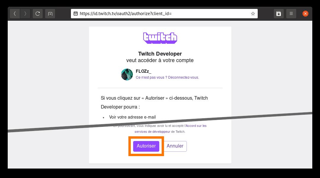 Capture d'écran: Authentification sur dev.twitch.tv