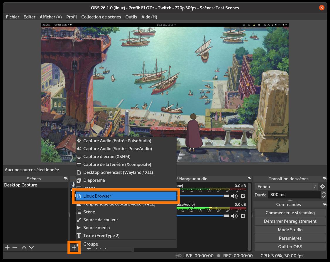 Capture d'écran: ajouter une source «Browser» dans OBS