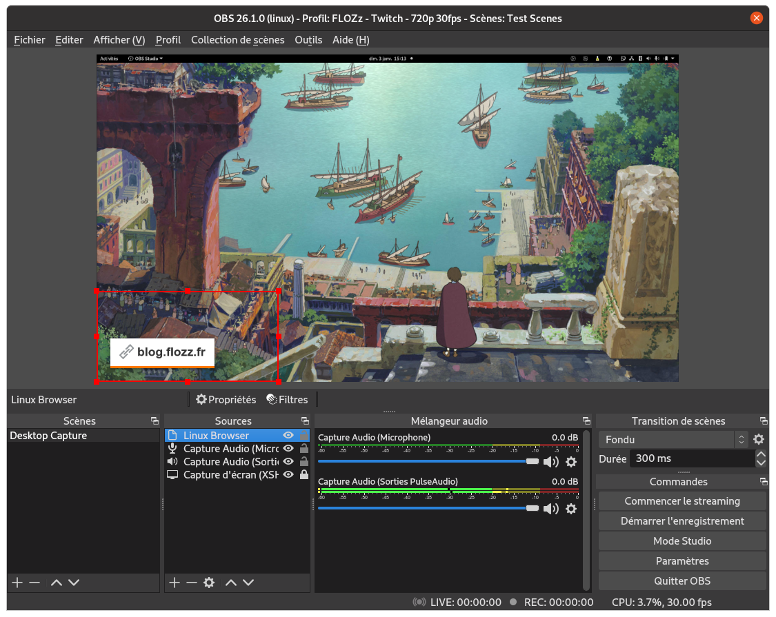 Capture d'écran: source «Browser» dans OBS