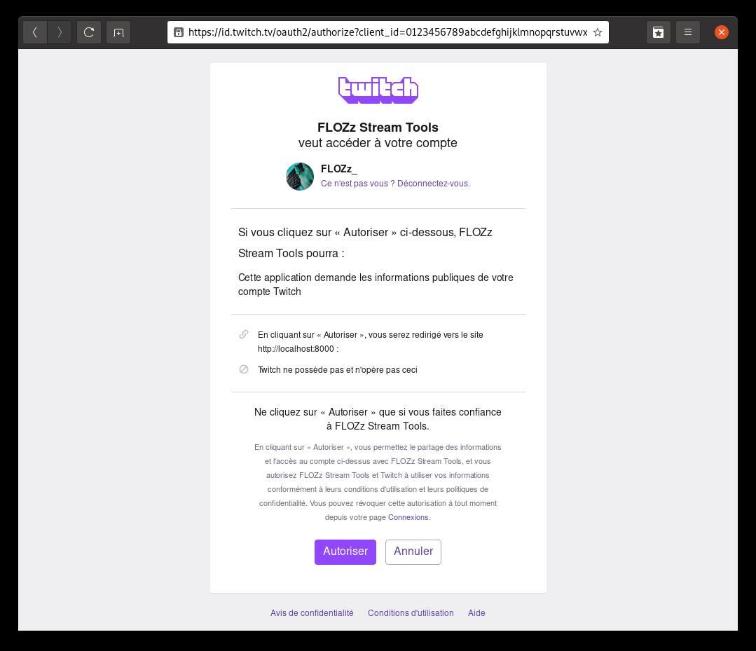 Capture d'écran: authorisation OAuth Twitch