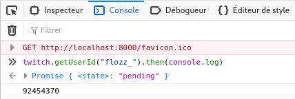 Capturé d'écran de l'exécution de twitch.getUserId() dans la console du navigateur