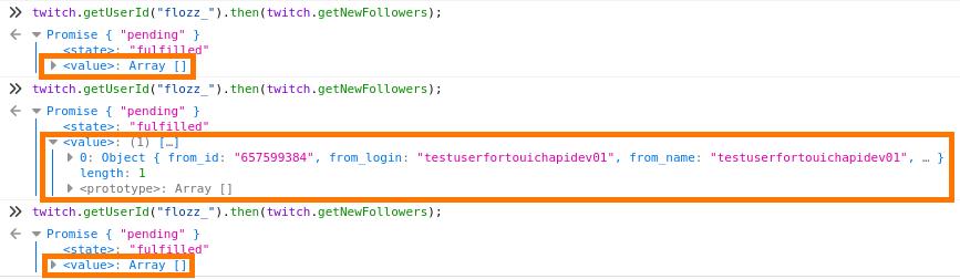 Capturé d'écran de l'exécution de twitch.getNewFollowers() dans la console du navigateur