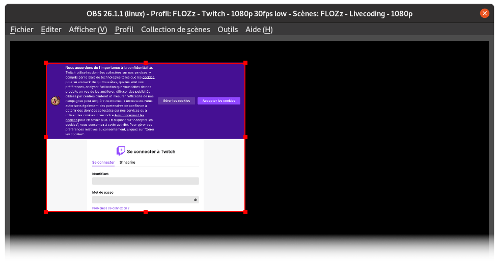 Demande d'authentification de Twitch dans le Browser d'OBS