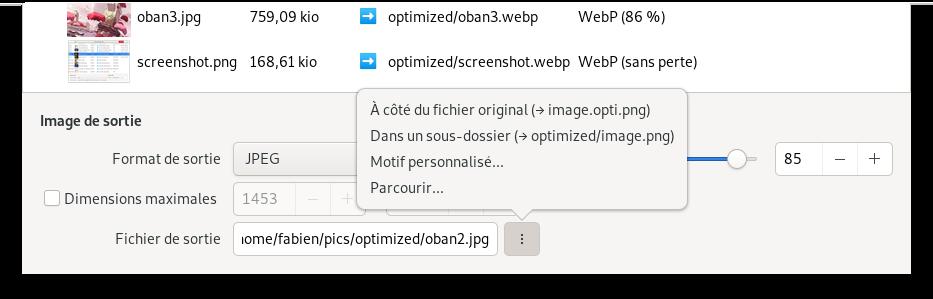 Capture d'écran du menu de renommage